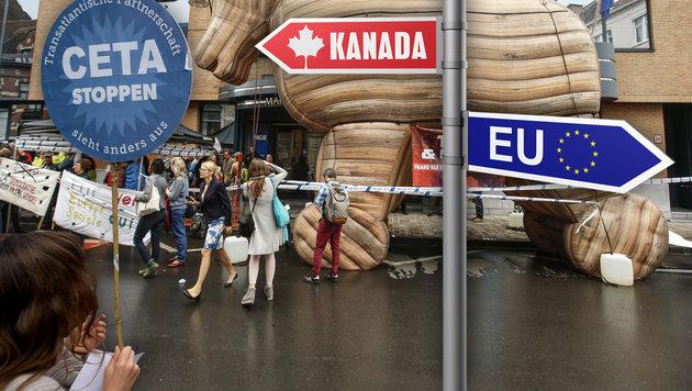 Nach TTIP-Nein: Auch den Pakt mit Kanada stoppen! (Bild: thinkstockphotos.de, AFP, APA)