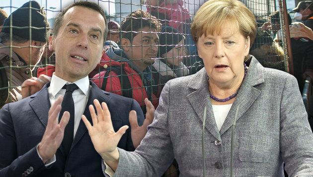 Kanzler Kern verteidigt Merkels Flüchtlingspolitik (Bild: APA/AFP/RENE GOMOLJ, APA/HANS KLAUS TECHT, APA/EPA/WOLFGANG KUMM)