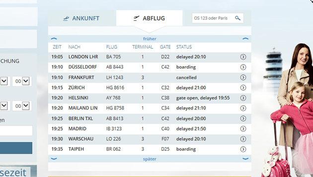 Zahlreiche Flügen verspäteten sich. (Bild: Screenshot www.viennaairport.com)