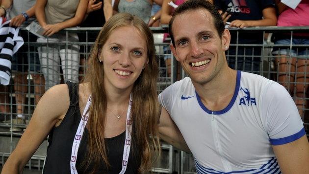 Kira mit Stabhochsprung-Weltrekordler Renaud Lavillenie (Bild: Olaf Brockmann)