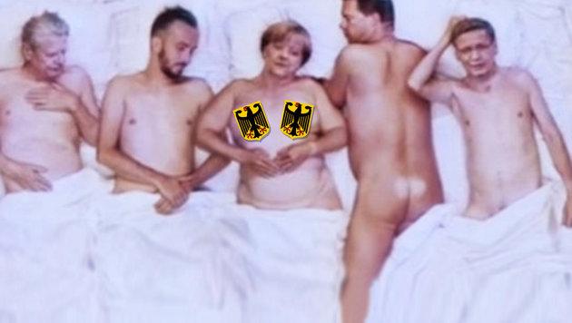 Merkel nackt im Bett - darf DAS wirklich sein? (Bild: YouTube.com/NEO MAGAZIN ROYALE)