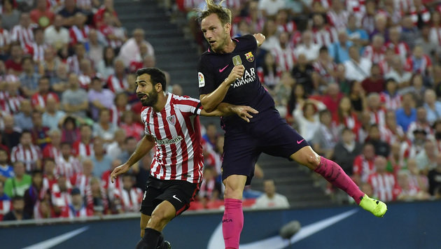 Ivan Rakitic köpfelt das entscheidende 1:0 für den FC Barcelona! (Bild: The Associated Press)