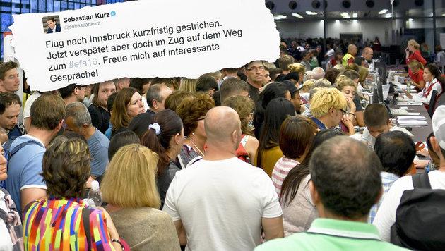 Flughafen-Chaos: Minister Kurz musste Zug fahren (Bild: Screenshot twitter.com, APA/Herbert Neubauer)