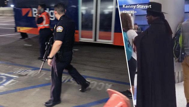 """""""Mann im Zorro-Kostüm"""" löste Flughafen-Alarm aus (Bild: Twitter.com/TheRedBari, Twitter.com/CoreyRosenbusch)"""