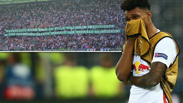 Rapid-Fans verh�hnen Salzburg nach CL-Debakel (Bild: GEPA, twitter.com)