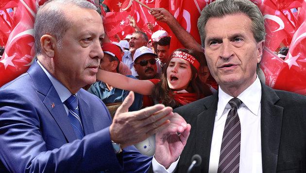 """EU-Kommissar Oettinger (re. im Bild): """"Kein EU-Beitritt unter Erdogan!"""" (Bild: AP, EPA, AFP/ADEM ALTAN)"""