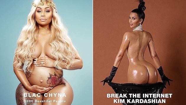 Kim Kardashian kriegt Nackt-Konkurrenz von ihrer Schwägerin in spe. (Bild: instagram.com/blacchyna, Viennareport)