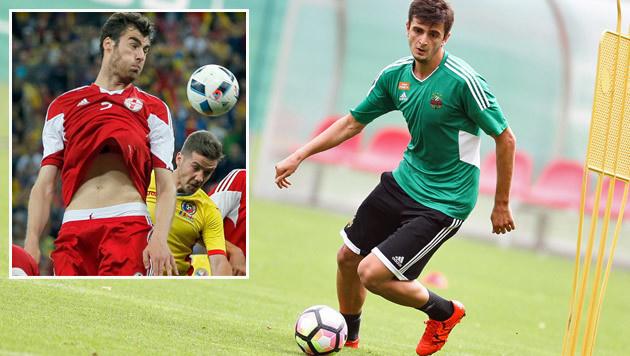 """Rapid-Georgier Kvilitaia: """"Fahren sicher zur WM!"""" (Bild: GEPA, AP)"""