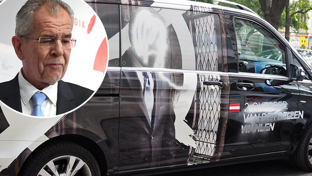 Ärger für Van der Bellen: Dieser für den Wahlkampf benötigte Kleinbus wurde verunstaltet. (Bild: APA/HELMUT FOHRINGER, Team Van der Bellen)