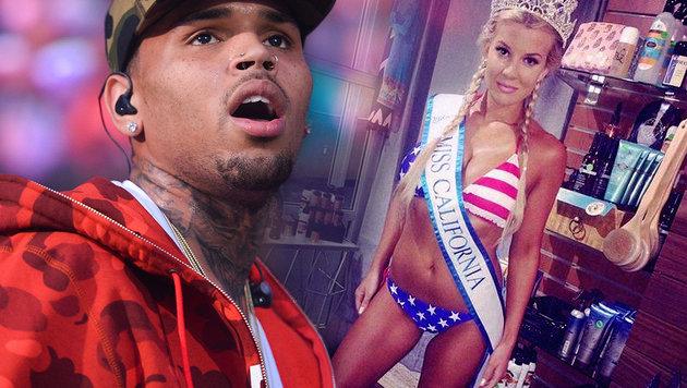 Chris Brown hielt Model Waffe an den Kopf (Bild: instagram.com/bayleecurran, AP)