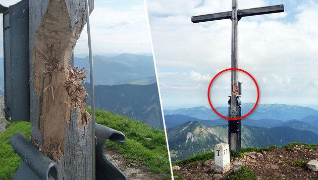 Das alte Kreuz am Schafreuter nach der Hack-Attacke (Bild: PI Bad Tölz)