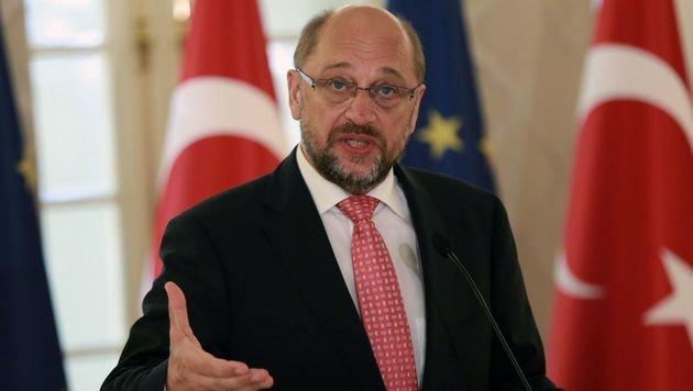 EU-Parlamentspräsident Martin Schulz während seines Besuchs in Ankara (Bild: APA/AFP/ADEM ALTAN)