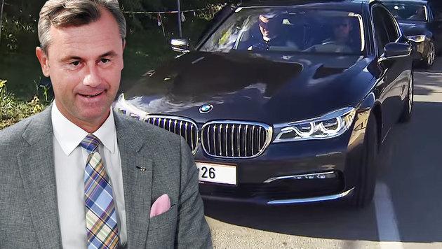 Hofer: Im Dienstwagen zum Hofburg-Wahlkampf (Bild: APA/ROLAND SCHLAGER, YouTube.com/FPÖ TV)