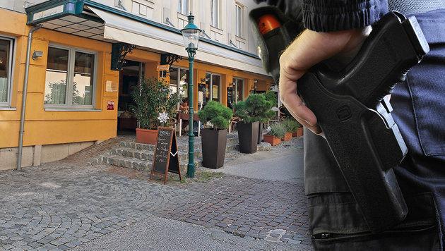 Der Verdächtige stürmte vor diesem Hotel in Mödling auf die Beamten los. (Bild: APA/HERBERT P. OCZERET, Reinhard Holl)