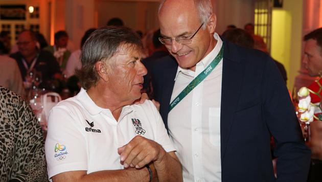 Schröcksnadel (li.) mit ÖOC-Präsident Karl Stoss (Bild: GEPA)