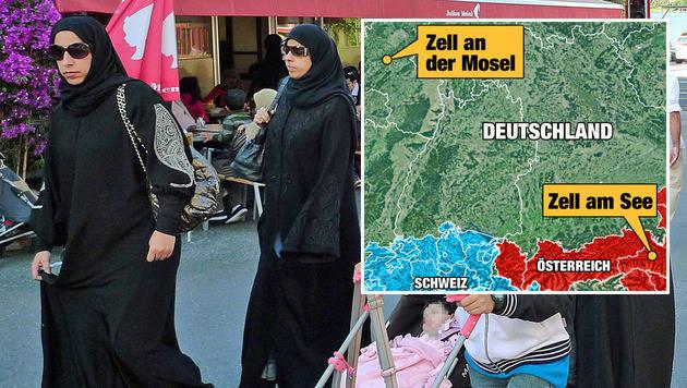 """Araber kauften Immobilien im """"falschen"""" Zell (Bild: APA/JOHANNES BRUCKENBERGER, """"Krone""""-Grafik)"""
