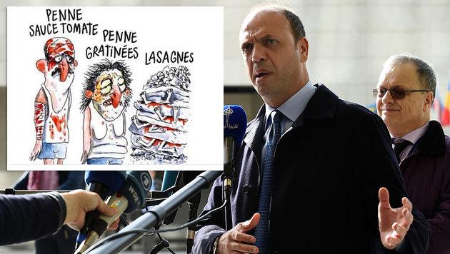 """Innenminister Angelino Alfano ist entrüstet über den Humor von """"Charlie Hebdo"""". (Bild: Twitter, APA/AFP/JOHN THYS)"""