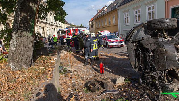 Auto prallte gegen Pestsäule, Lichtmasten und Baum (Bild: APA/BFK BADEN/STEFAN SCHNEIDER)