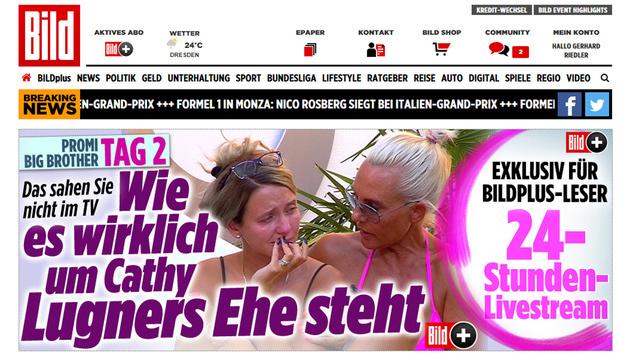 """""""Wie es wirklich um Cathy Lugners Ehe steht"""", berichtete bild.de prominent. (Bild: bild.de)"""