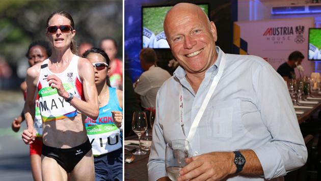 Andrea Mayr (links) und ÖLV- Präsident Ralph Vallon in Rio (rechts) (Bild: GEPA)