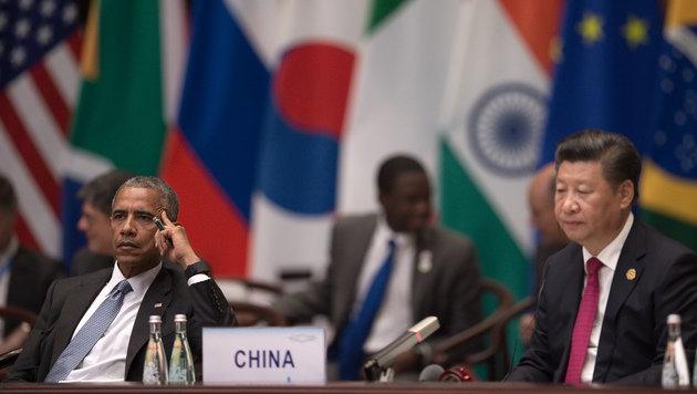 Ernste Mienen bei Obama und Xi während des ersten Tags des G20-Gipfels (Bild: ASSOCIATED PRESS)