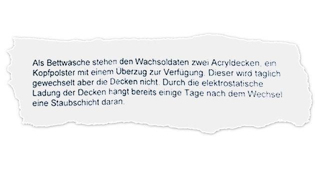 """""""So beschweren sich unsere Grundwehrdiener (Bild: zVg)"""""""
