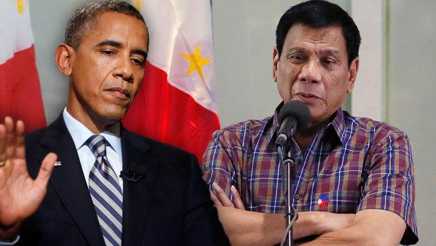 Philippinischer Präsident beleidigt Obama (Bild: AP/Charles Dharapak, AP/Bullit Marquez)