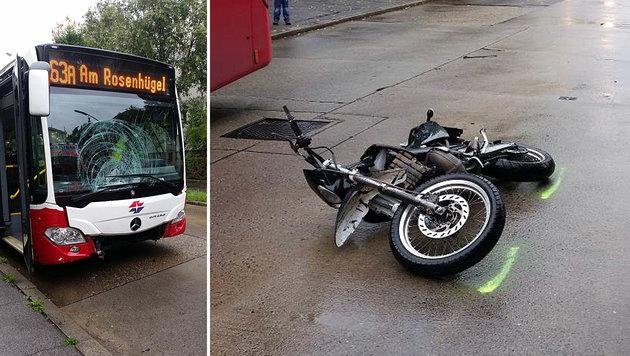 14-jähriger Mopeddieb prallte gegen Linienbus (Bild: LPD WIEN)