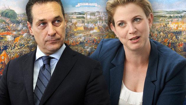 FPÖ-Chef Heinz-Christian Strache und die Landessprecherin der Wiener NEOS, Beate Meinl-Reisinger (Bild: Wikipedia, APA/HANS KLAUS TECHT, APA/HERBERT PFARRHOFER)