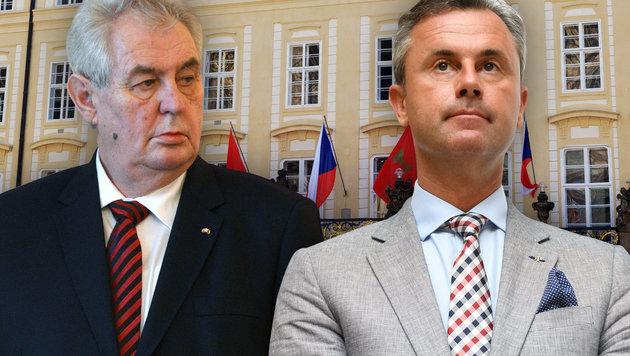 """Präsident Zeman ist ein """"Fan"""" Hofers, den er zu einem """"Freundschaftsbesuch"""" in Prag empfängt. (Bild: thinkstockphotos.de, APA/HELMUT FOHRINGER, AFP/Michal Cizek)"""