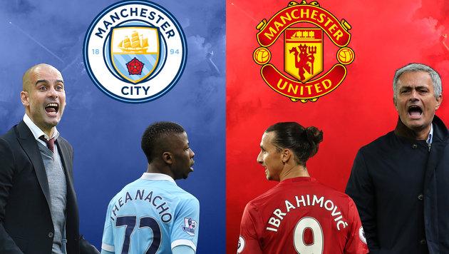 Manchester-Derby: Guardiola gegen Mourinho (Bild: GEPA)