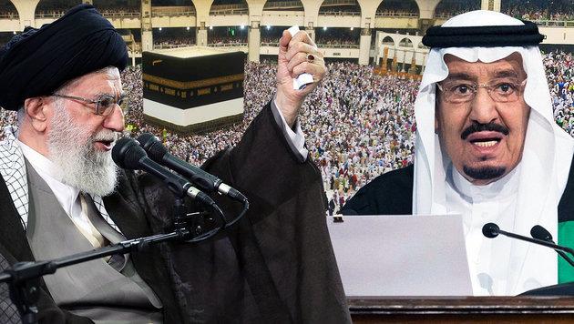 """Irans Ayatollah Khamenei (li.) wettert gegen den """"verfluchten"""" saudi-arabischen König Salman. (Bild: APA/AFP/AHMAD GHARABLI, APA/AFP/SPA/STR, AFP)"""