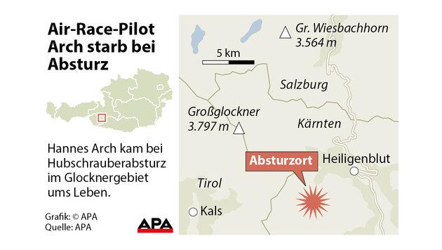 Hier stürzte Kunstflieger Hannes Arch in den Tod (Bild: APA Grafik)