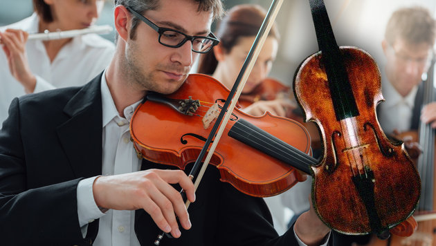 Eine der gestohlenen Geigen aus der wertvollen Sammlung des Berufsmusikers (Bild: thinkstockphotos.de, Polizei)