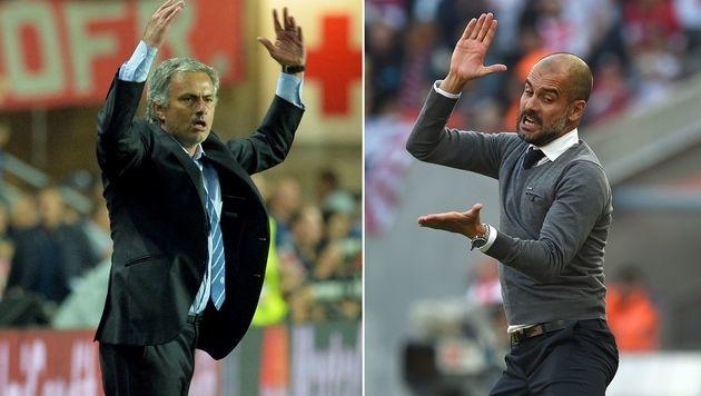 Guardiola will mit Mourinho ein Glas Wein trinken (Bild: APA/AFP/MICHAL CIZEK/PATRIK STOLLARZ)