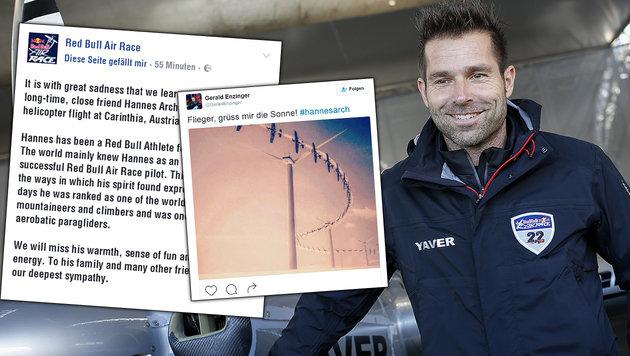"""Tiefe Trauer um """"�sterreichs besten Piloten"""" (Bild: APA/ERWIN SCHERIAU, facebook.com, twitter.com)"""