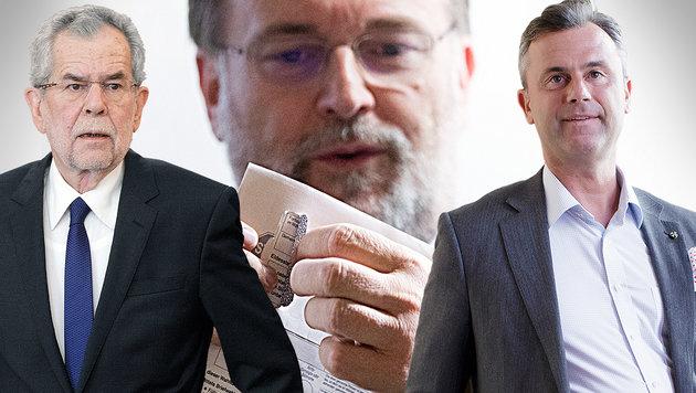 Alexander Van der Bellen und Norbert Hofer; im Hintergrund Wahlleiter Robert Stein (Bild: APA/GEORG HOCHMUTH)