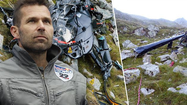 Der Hubschrauber mit Hannes Arch an Bord zerschellte an der felsigen Steilwand. (Bild: APA/EXPA/JFK, APA/GERT EGGENBERGER, APA/ERWIN SCHERIAU)