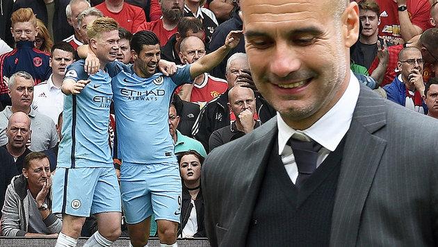 Guardiola siegt im Trainer-Wettstreit mit Mourinho (Bild: AFP/Oli SCARFF, AP/Martin Rickett)