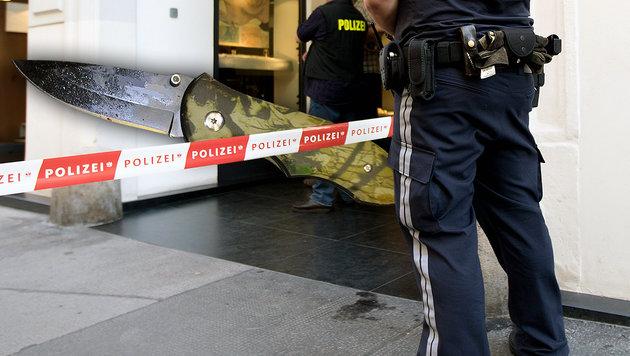 Mit diesem Messer ging der Verd�chtige (25) auf den 33-J�hrigen los. (Bild: APA/GEORG HOCHMUTH (Symbolbild), Polizei)