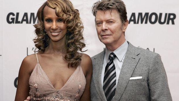 David Bowie mit Ehefrau Iman (Bild: APA/AFP/STAN HONDA)