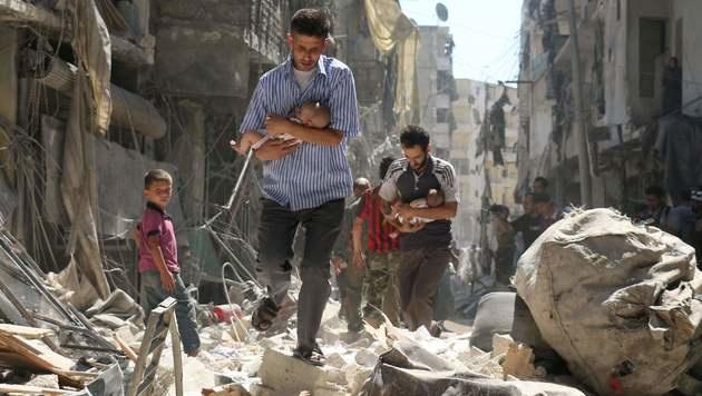 Syrien: Erneut Krankenhaus in Aleppo bombardiert (Bild: APA/AFP/AMEER ALHALBI)