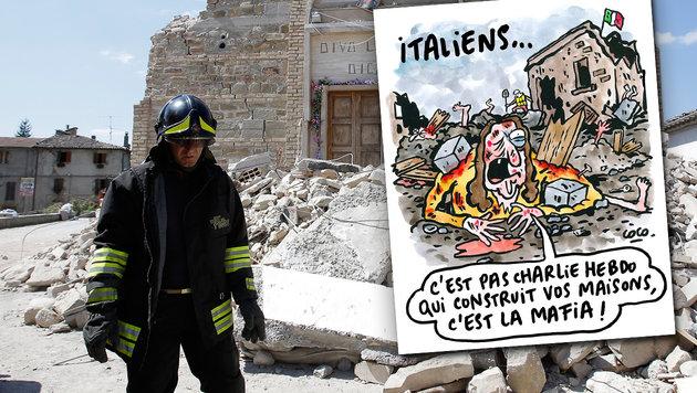 """Eine der """"Charlie Hebdo""""-Karikaturen, die in Amatrice und ganz Italien für Aufregung sorgen (Bild: AP/Antonio Calanni, Charlie Hebdo)"""
