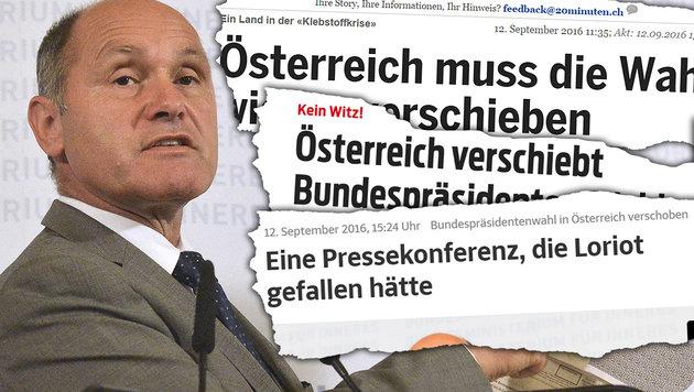 "So lacht das Ausland über unseren ""Ewig-Wahlkampf"" (Bild: APA/HERBERT PFARRHOFER, sueddeutsche.de, blick.ch, 20min.ch)"