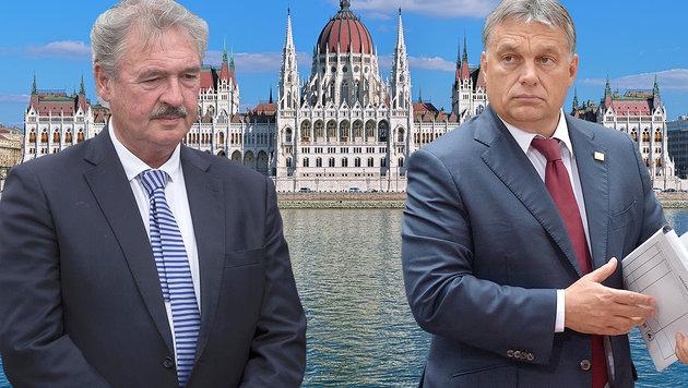 Asselborn (li.) und Orban (Bild: EPA/STEPHANIE LECOCQ, APA/AFP/THIERRY MONASSE, thinkstockphotos)