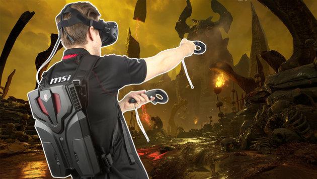 MSI präsentiert Virtual-Reality-Rucksack-PC (Bild: MSI, Bethesda)