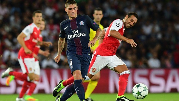 Marco Verratti (PSG) im Zweikampf mit Santi Cazorla (Arsenal) (Bild: AFP)