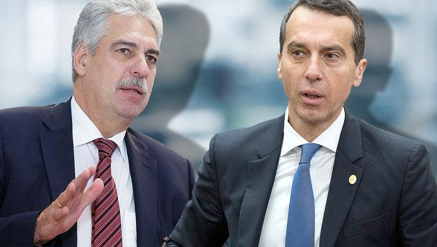 EU-Sparpolitik: Fernduell Schelling gegen Kern (Bild: AP/Geoffroy Van der Hasselt, APA/GEORG HOCHMUTH)