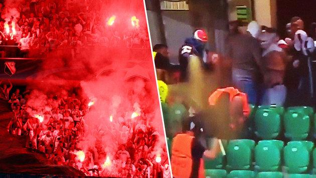 Debakel gegen BVB! Hooligans attackieren Securitys (Bild: AP/Czarek Sokolowski, YouTube.com)