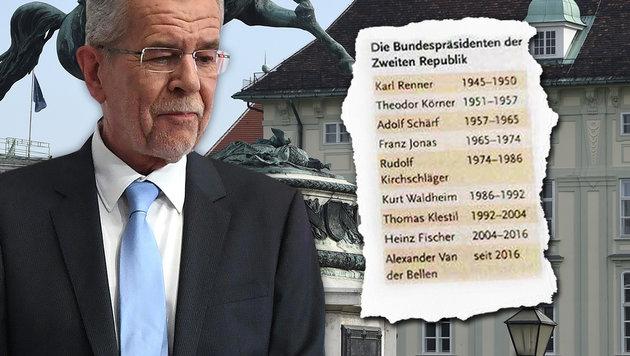 Van der Bellen schon als Präsident in Schulbuch (Bild: APA/HELMUT FOHRINGER)
